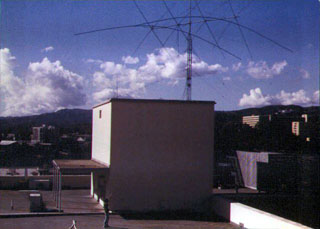 Club station on the UCLA campus in the early 1970's. Antenna was a 3-band 4-el. quad with full size 2-el. 40 M beam rebuilt by Rocco Lardiere (N6KN), Ken Seidner (WA6DPQ), and club members.