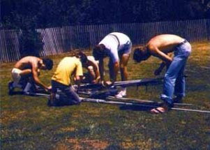 Field day preparation in June, 1978, at the Sunset Recreation Center softball field.