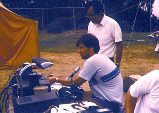 Field day June, 1978 (In operating position, Jeff Hillman (AI6K), Club President. Standing, Paul Wang (KU6T), Faculty Advisor.)